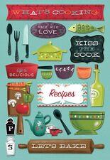 KAREN FOSTER DESIGN WHAT'S COOKING FOOD COOK BAKING CARDSTOCK SCRAPBOOK STICKERS