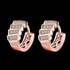 18k 18ct Rose Gold Filled GF Elegant CZ  Hoop Hoogies Woman Earrings E554