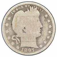 1897-O 25c Silver Barber Quarter - Semi-Key Date Coin - SKU-X673