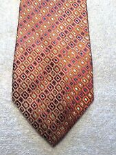 """SAXONY MENS TIE GOLD WITH ORANGE RED AND BLUE SQUARES  3.75"""" X 60"""""""