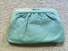 Vintage leather clutch plastic frame made in italy 70s 1970s mint green bag