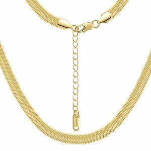 Damen Schlangenkette  Halskette 7 mm 24 Karat Gold vergoldet gelbgold K6060DL