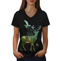 Wellcoda Deer Eagle Animal Nature Womens V-Neck T-shirt, Free Graphic Design Tee