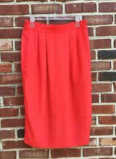 Vintage Whitney Lang Flowy Thin Red Midi Pencil Skirt Size 10 Retro!
