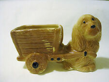 Vintage Ceramic Pottery Large Spaniel Puppy Dog Pulling Cart Planter