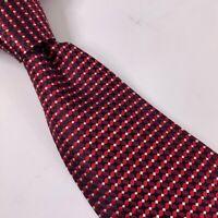 Brooks Brothers Mens Classic Necktie Red Black Geometric Silk 3 1/4 W x 59 L