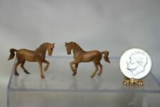 Miniature Dollhouse Pair Vintage Brown Horse Childs Toys or Figurines 1:12 NR