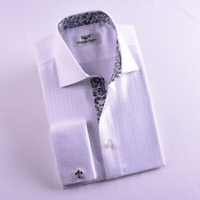 White Twill Check Business Formal Dress Shirt Floral Inner Lining French Cuff