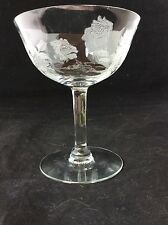 Vintage pressed glass champagne coupe with delicate etched flowers ,
