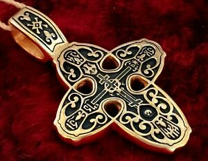 Russian-Greek Icon Orthodox Cross Sterling Silver Gold Plated Gift #10.14