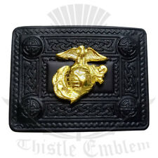 Kilt scozzese Cintura Fibbia US MARINE Jet Black/Nodo Celtico Design Fibbie Per Cintura
