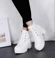 Womens Platform Chunky Med Heels Cosplay Ankle Boots Lace Up Uniform Shoes V972