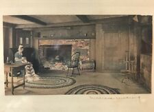 "Interior Scene Quilting 1915  by Wallace Nutting Signed Framed 4 3/4"" x 2 1/2"""