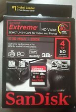 SanDisk Extreme 4GB SDHC 30MB/s 200x Memory SD Card class10 Brand new and sealed