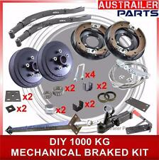 DIY 1000KG Mechanical Drum Brake single Axle Trailer Kit with Slipper springs 1T