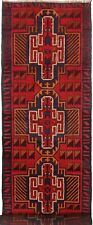 1617 # Tribal Handmade Red Afghan Wool Hallway Baluchi Rug Runner 243 x 73 cm