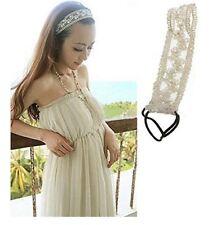 Fashion Lady Girls Sweet Pearl Beads Lace Wide Elastic Headband Hair Band Bridal