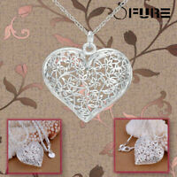 Delicate Sterling Silver Florals Hollow Textured Puffed Heart Pendant Necklace
