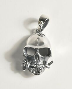 Silver 925 Skull and rose Pendant Charm Gothic Steam Punk