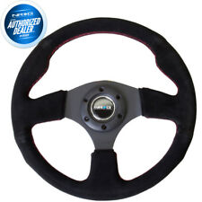NEW NRG Steering Wheel Black Suede w/ Red Stitch 320mm Type-R Style  RST-012S-RS