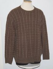 SOFT Neiman Marcus 100% Cashmere Brown 4ply Knit Crewneck Sweater XL