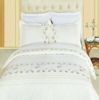 Cream Tasneen Embroidered Duvet Cover Set 100% Combed Cotton 3 Piece Set