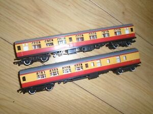 Pair of Blood & Custard Coaches for Hornby OO Gauge