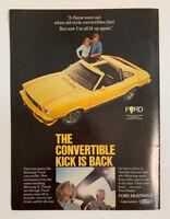 1977 Ford Mustang II 2 Door Print Ad Original Vintage Convertible Kick Is Back