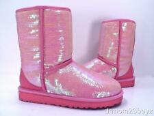 New Ugg Classic Short Sparkles Neon Pink Sequined Shearling Boots Women's RARE 6