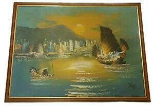 """Oil On Board Boats on the Water Far eastern scene Signed by the artist 26"""" x 19"""""""