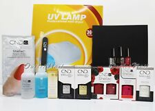 GEL MANICURE STARTER GIFT KIT: 4 CND Shellac Colors + Base Top + 36W UV Lamp +..