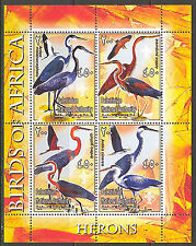 Palestinian National Authority Birds of Africa V Herons Sheet of 4 MNH**