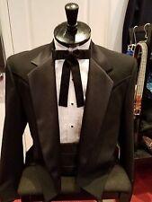 Men's or Boys  Black Tails Tuxedo Jacket with Western Satin Yoke 100% Wool