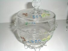 EAPG Batesville Butter Dish w Hand Painted Flowers 1875 - RARE