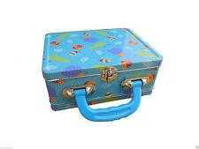 Blue metal case with fun bugs pattern (24 x 15 x 8cm). metal fastener