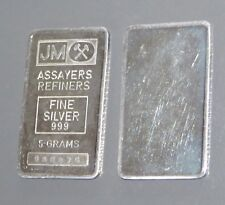 RARE JOHNSON MATTHEY (PLAIN REVERSE) 5g (5 GRAM) 999 FINE SILVER BULLION BAR
