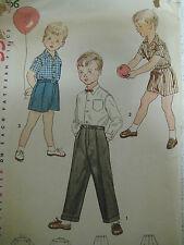 Vintage Simplicity 4166 Boy SHIRT SHORTS TROUSERS Sewing Pattern Sz 5 Child