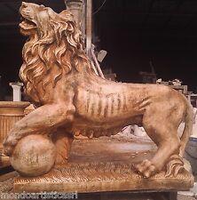STATUA SCULTURA LEONE REALE IN CEMENTO MARMO PIETRA ALT. 106x115