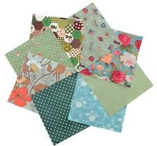 "Quilting fabric 40 charm pack 5x5"" squares Green tone Child Floral Polka Dots"