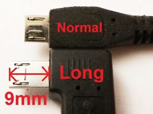 Micro USB extra long plug large 9mm extended data 9 mm connector adapter UK