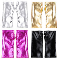 Sexy Frauen Wet Look Metallic Leder Fingerlose Handschuhe Abend Party Kostüm