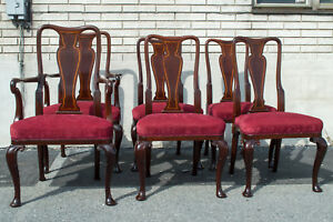 English Queen Anne 6 Dining Chairs Mahogany Armchair & Side Antique Maple & Co.
