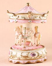 PINK LED LIGHT MERRY GO AROUND CAROUSEL ROTATION MUSIC BOX