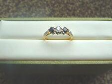 Antique 18ct gold diamond and sapphire platinum set ring size L & 1/2