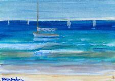 ACEO Original Miniature Painting Catboat Sailboat Nautical Sea  Cape Cod Artist