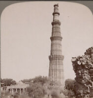 India. Stereoview. Delhi. Qutb Minar Moslem Tower of Victory Standing 240ft High