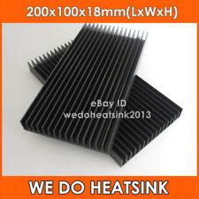 2pcs 200x100x18mm Large Black Anodized Aluminum Heatsink Cooler For LED Cooling