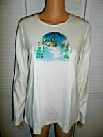 Cute Croft & Barrow size M ivory winter landscape long sleeve shirt women NWOT