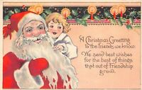 Christmas Postcard Santa Claus with a Child, Candles and Holly~125544