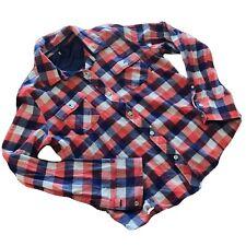 Vans Youth Xlarge Flannel Shirt Girls Plaid Long Sleeve Blue